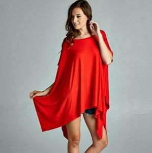 Tops - RED  Sofia poncho style tunic
